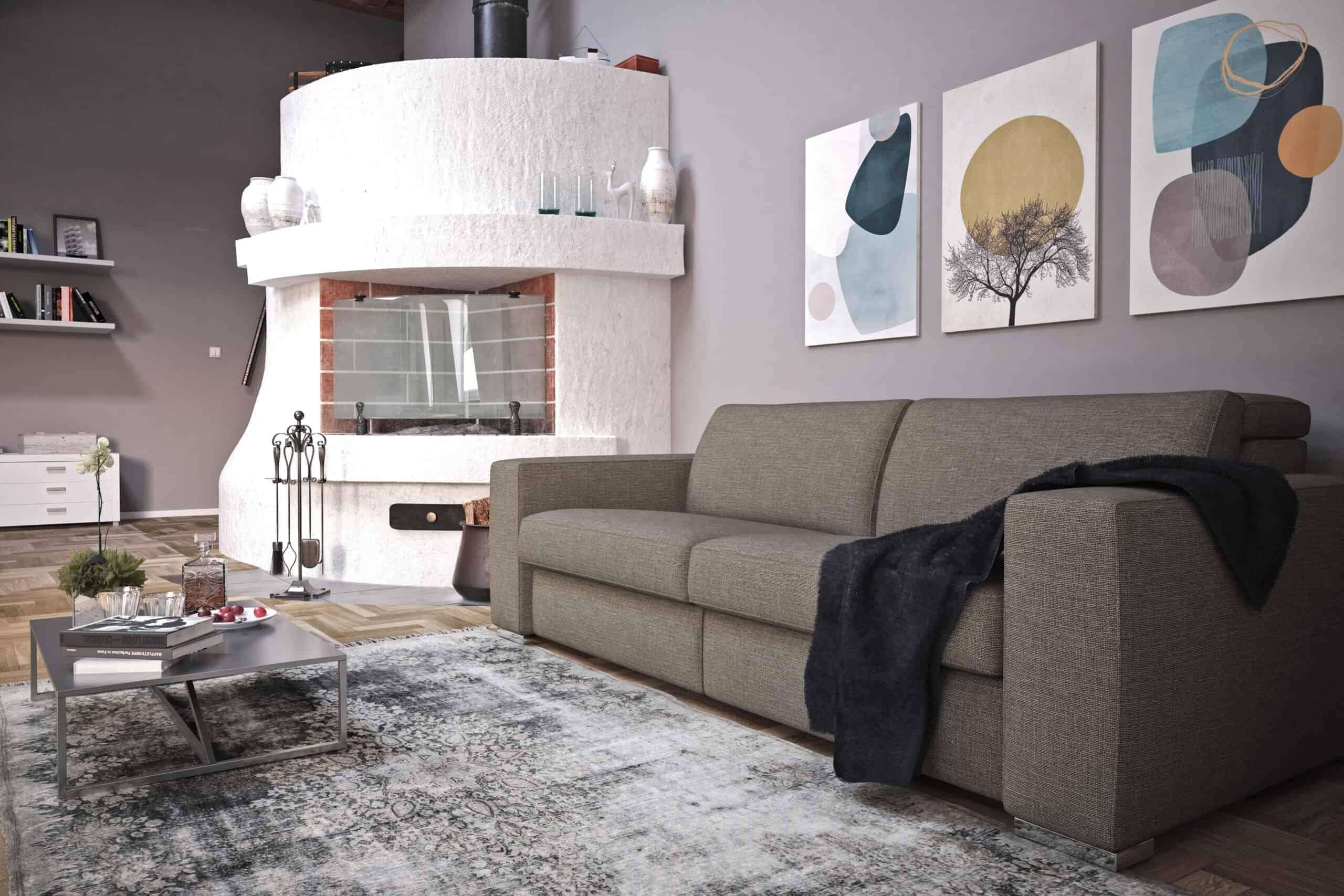 Bellagio small – Divano 3 posti XL con poggiatesta reclinabile – 220×110 – Tessuto Diesis Tortora