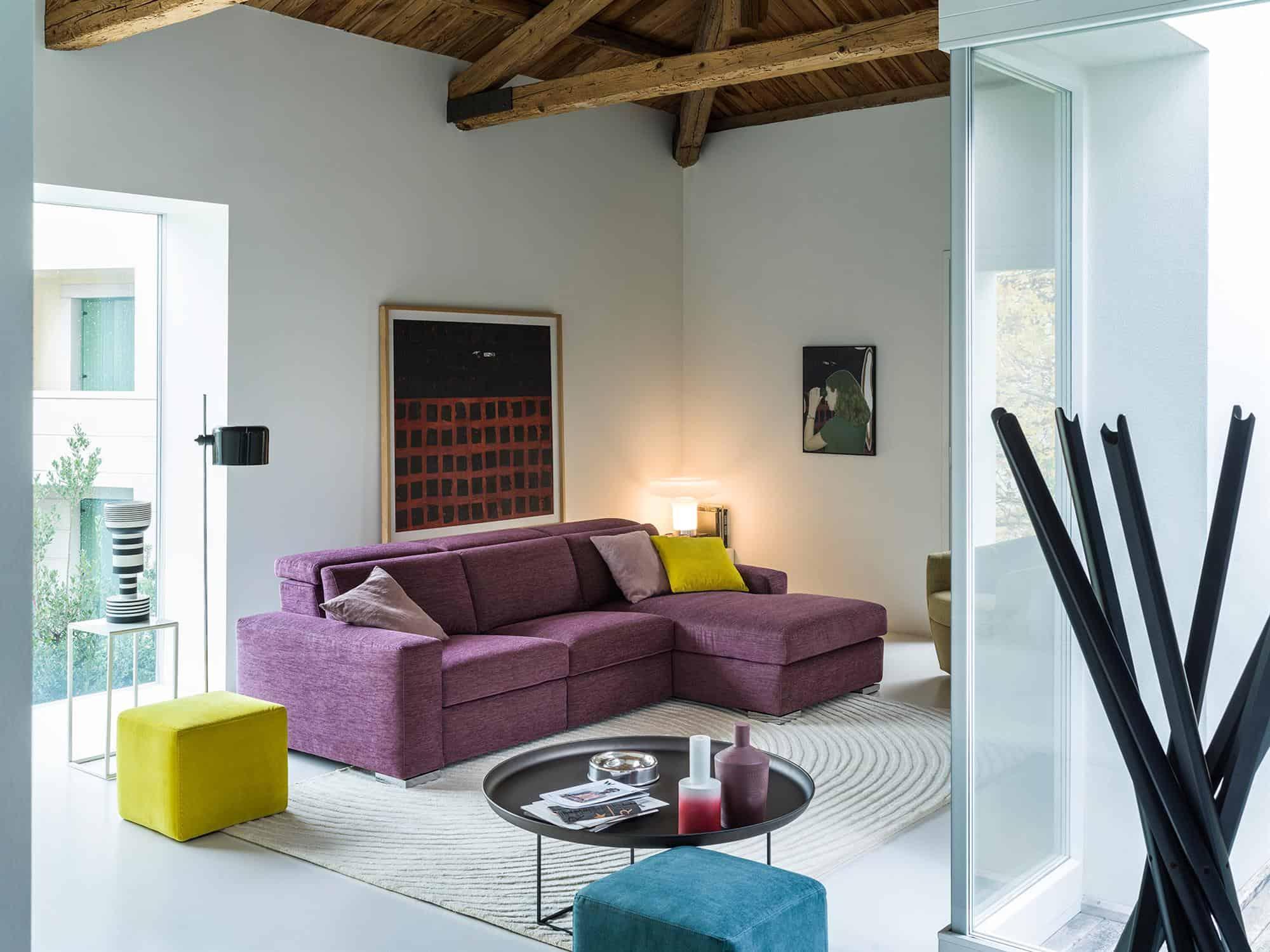 Bellagio small – Composizione Relax con Chaise Longue – 264×170 – Tessuto Sintonia Malva