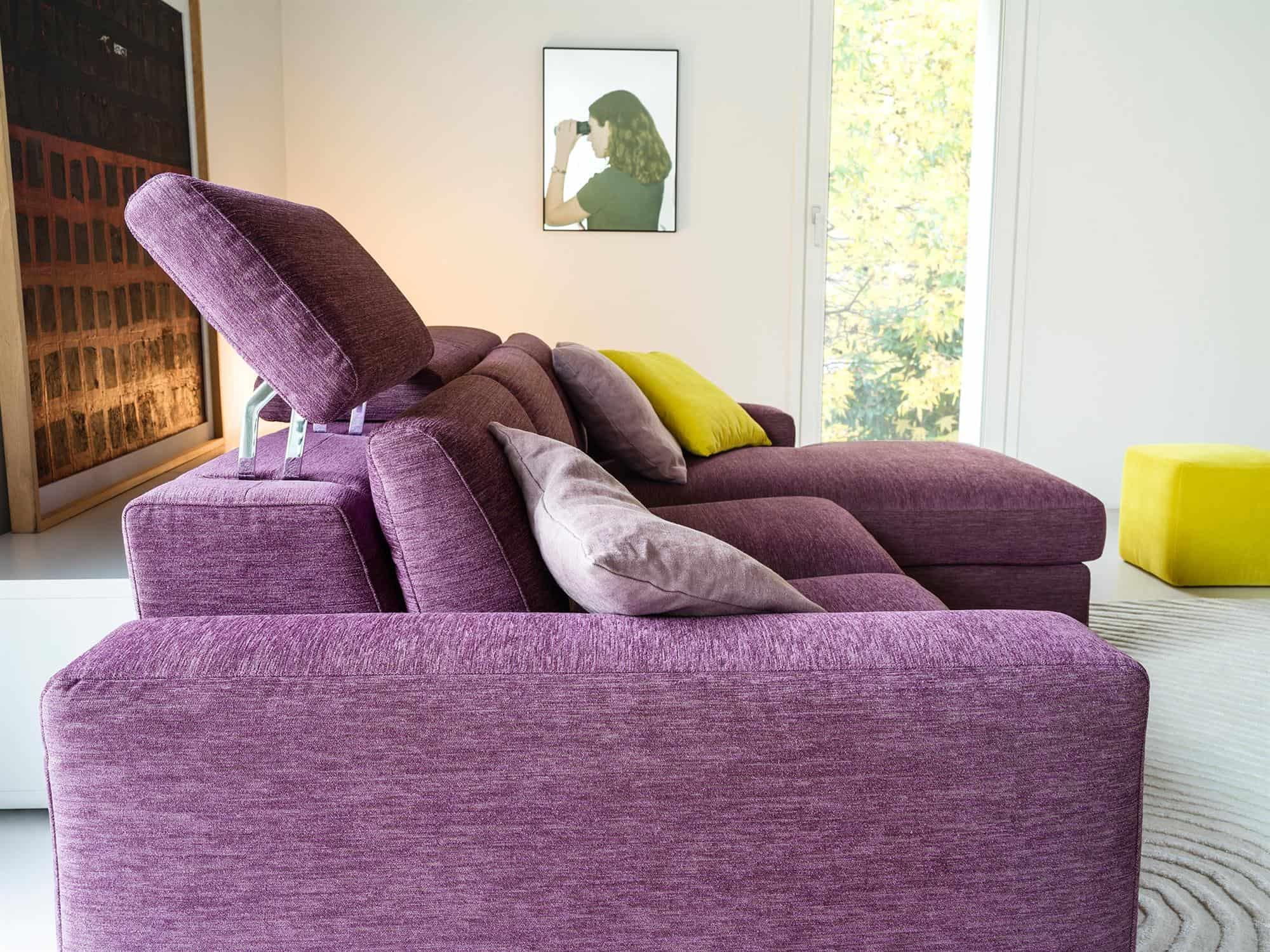 Bellagio small – Elementi con meccanismo relax motorizzato oppure con poggiatesta reclinabile manualmente – Tessuto Sintonia Malva