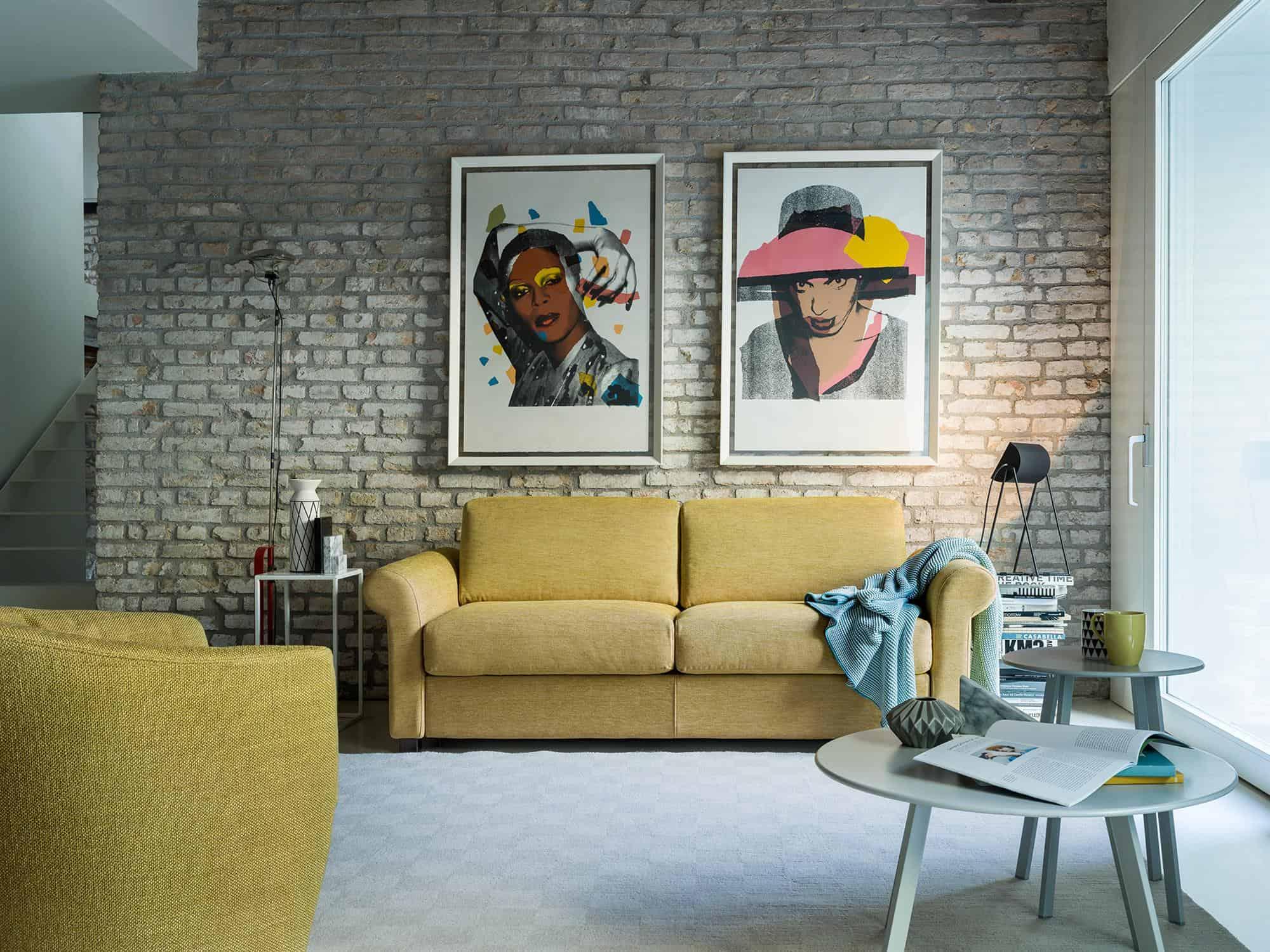 """Amerigo classic – Divano letto 2 posti (a scelta anche nella versione """"divano"""") – 180×100(204) – Tessuto Sintonia Senape"""