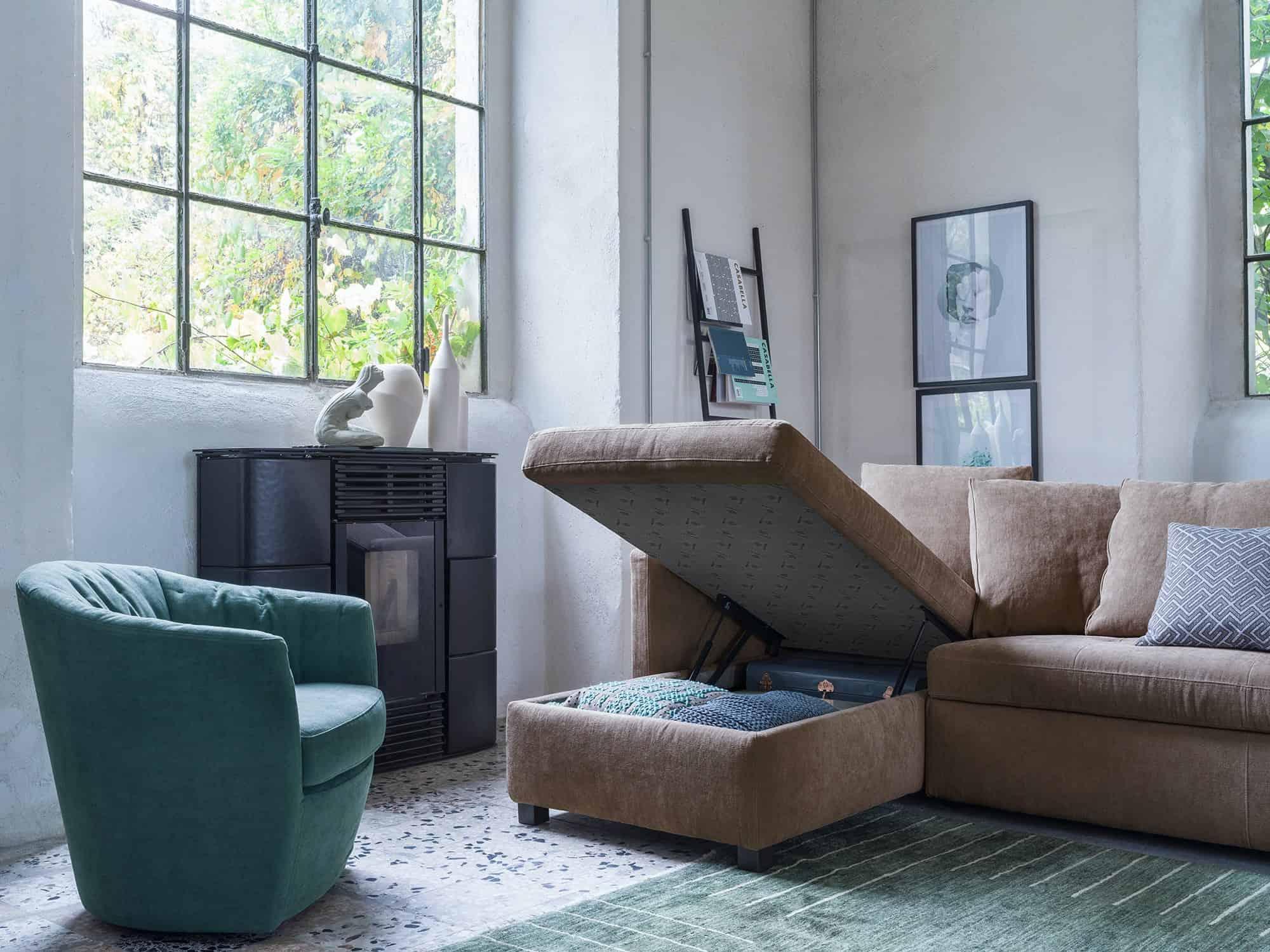 Costantina – Confacente alla zona giorno tanto quanto alla camera da letto: configurala scegliendo il rivestimento più adatto al tuo living – 72×72 – Tessuto Idillio Ottanio