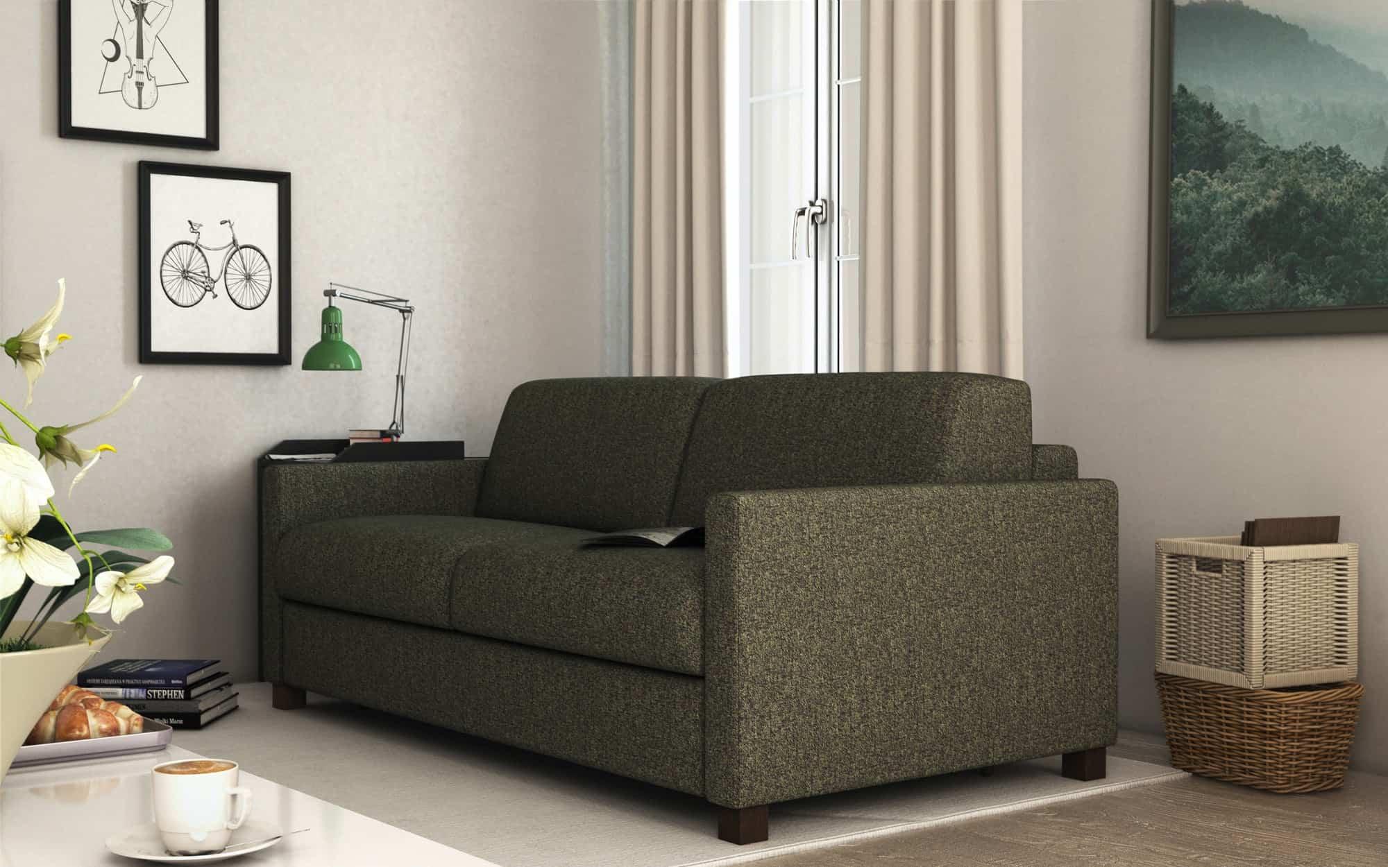 Amerigo small – Linee essenziali, comodità garantita (disponibile anche la versione divano-letto) – Tessuto Pepe Assenzio